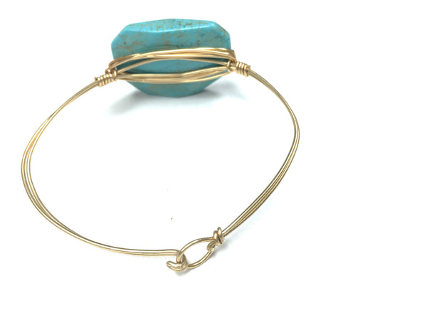 DIY Jewelry Kit - From The Blog - Marquis Turquoise Bead Wire Bangle Bracelet