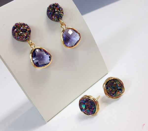 Handmade Earrings - Druzy Studs with Purple Bezel