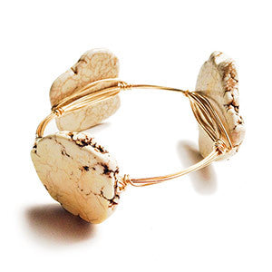 Bracelet - Natural Howlite Flat Bangle - Natural Brass