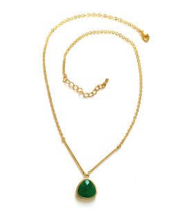 Handmade Necklace - Kelly Green Drop On A Delicate Chain