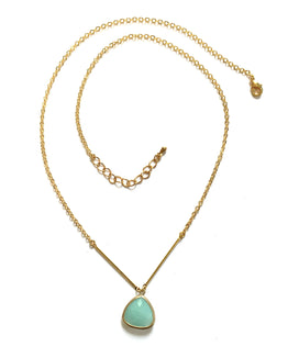 Handmade Necklace - Mint Drop On A Delicate Chain