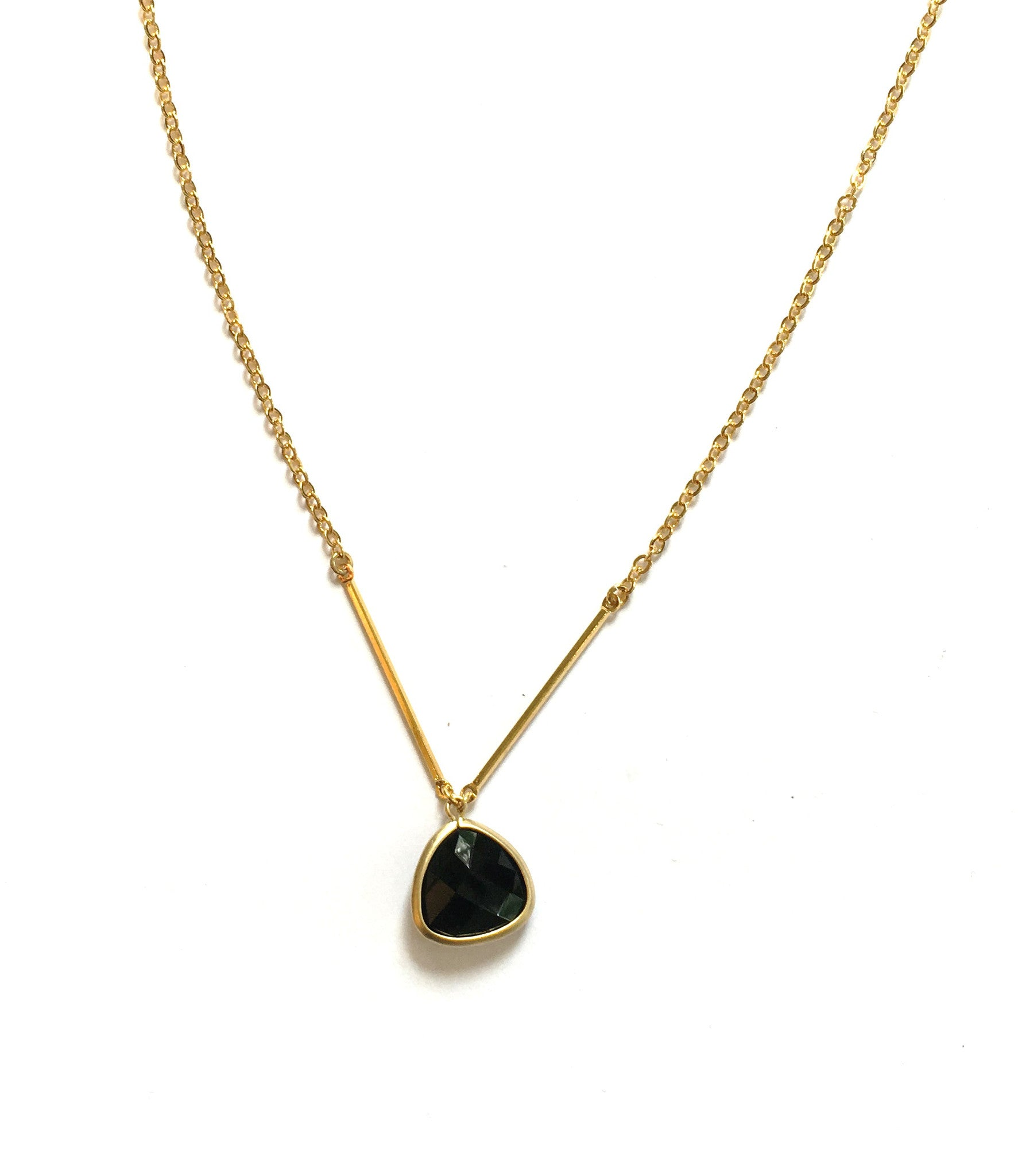 Handmade Necklace - Onyx Drop On A Delicate Chain
