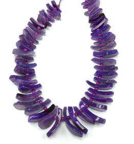 A&SB Stones - Agate Tusk Beads - Purple - Graduated 20X10MM-40X16MM (15.5'/st)