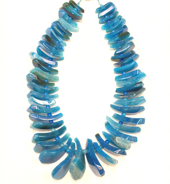 A&SB Stones - Agate Tusk Beads - Blue - Graduated 20X10MM-40X16MM (15.5'/st)