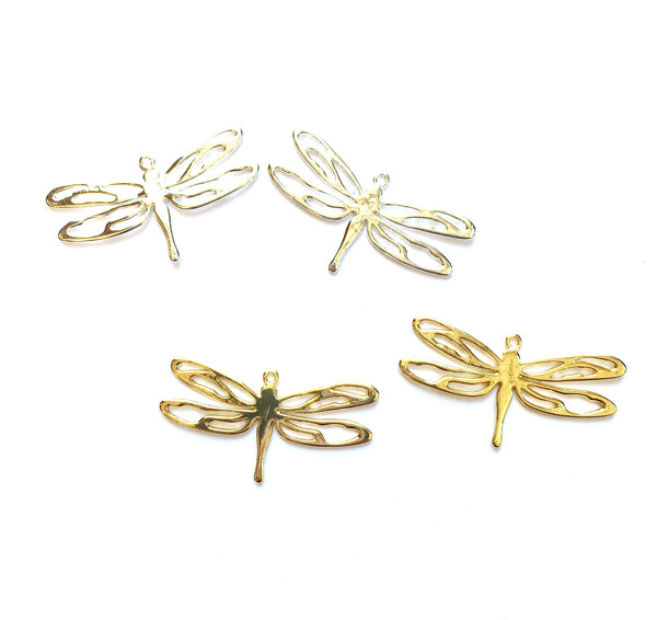 E - Findings Charm - Dragonfly Component - 36x19 mm Flat (1 Pair)