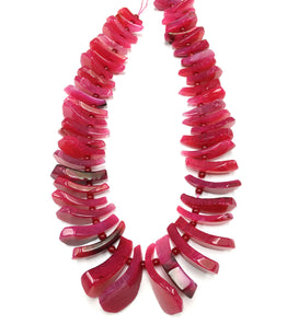 A&SB Stones - Agate Tusk Beads - Hot Pink - Graduated 20X10MM-40X16MM (15.5'/st)