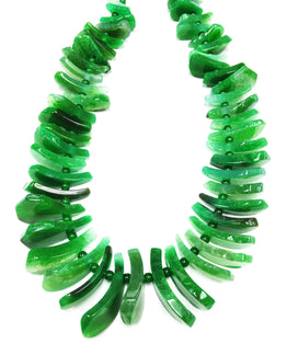 A&SB Stones - Agate Tusk Beads - Green - Graduated 20X10MM-40X16MM (15.5'/st)
