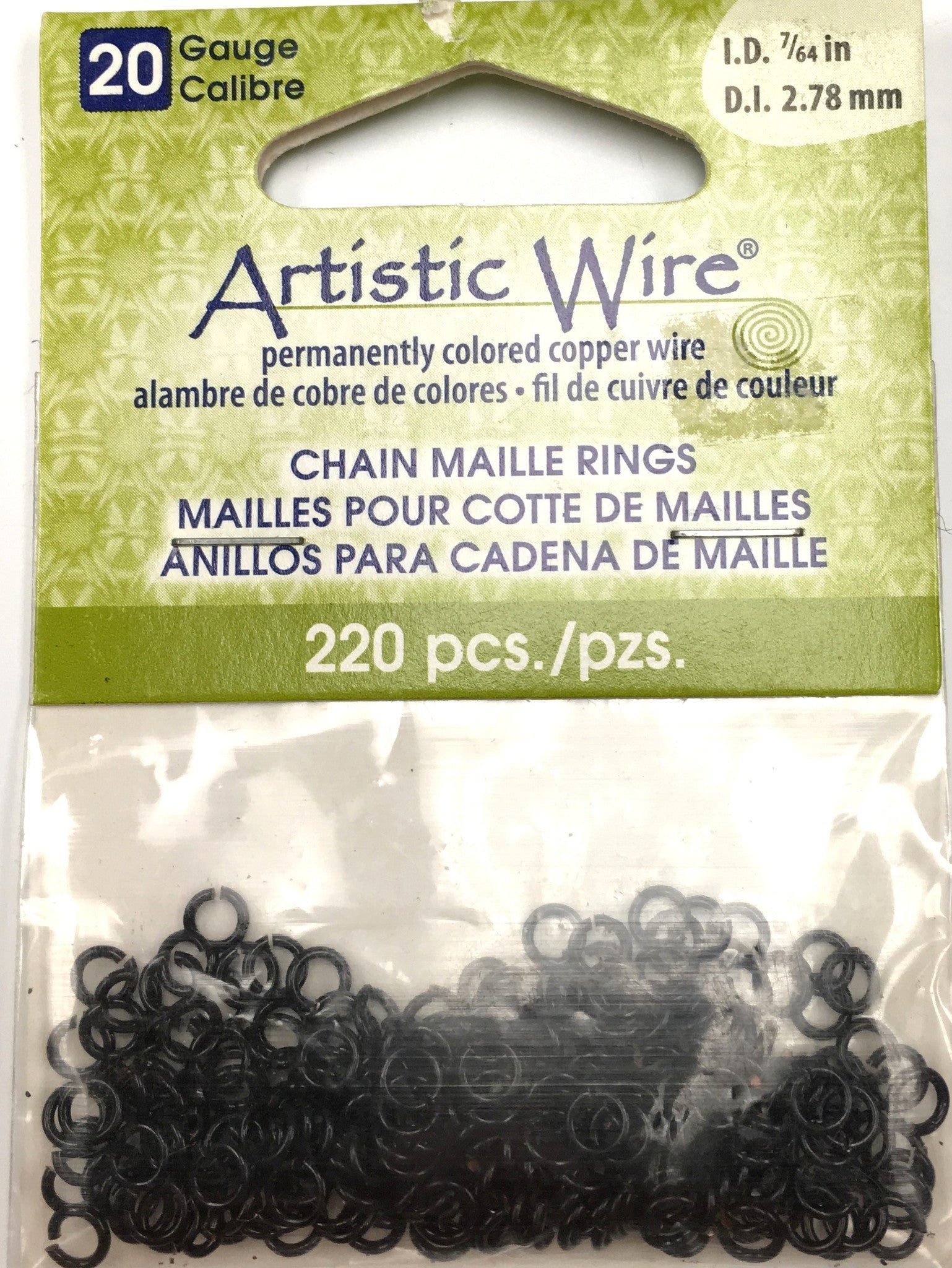 Findings - Artistic Wire Jump Rings - 20g - 7/64in - Black Color - 220pcs