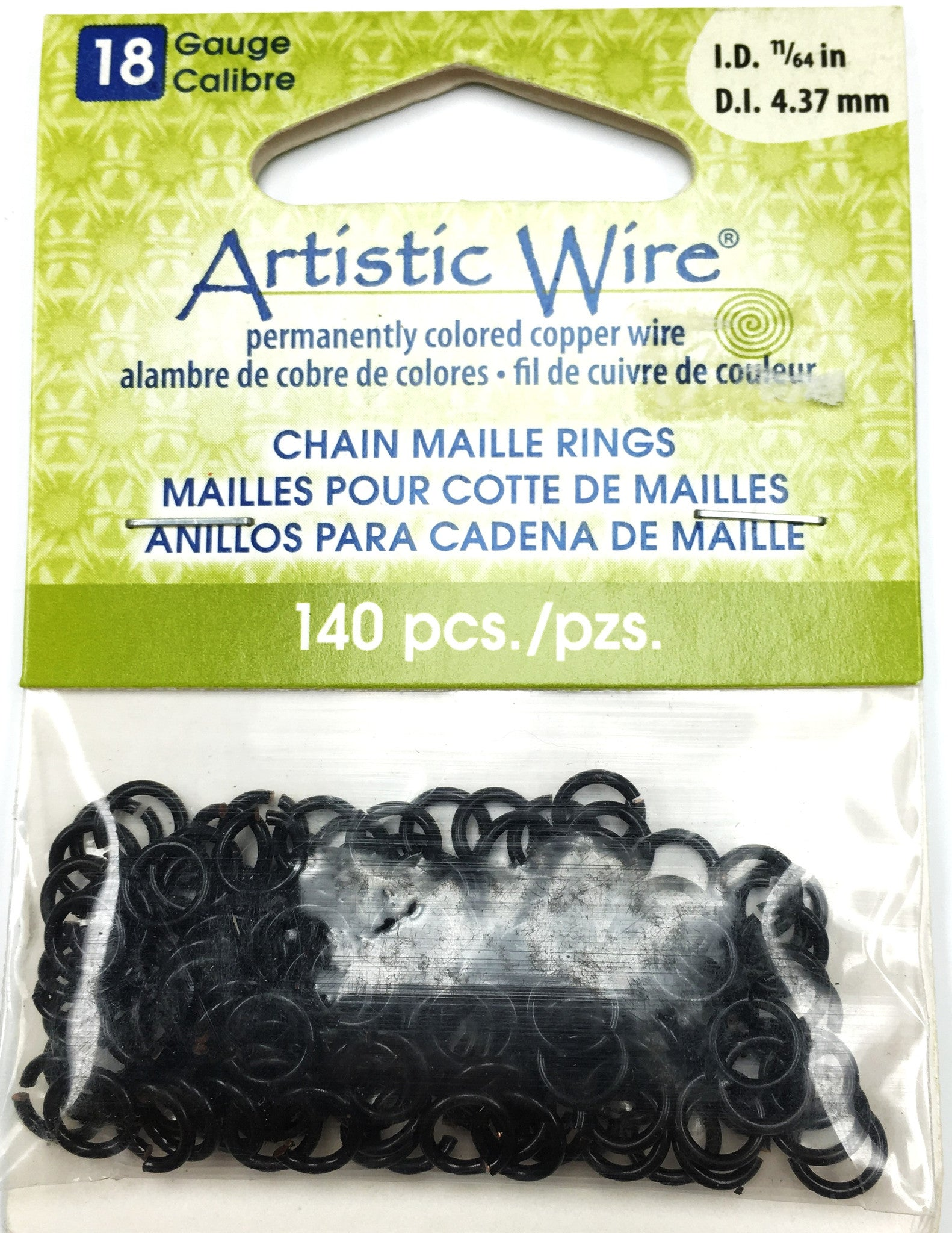 Findings - Artistic Wire Jump Rings - 18g - 11/64in - Black Color - 140pcs