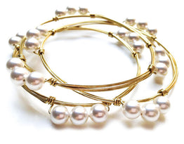 DIY KIT - Beginner Kit - Small Swarovski Pearl Bangle (Set of 2)