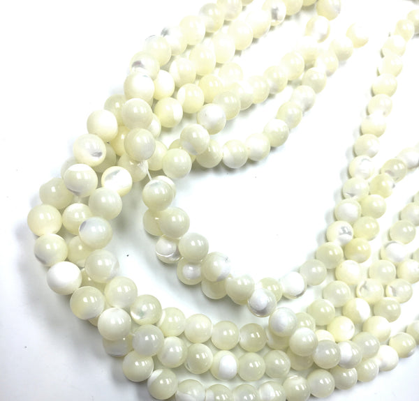 A&SB Stone - Round Stone -  MOTHER OF PEARL WHITE- 8mm 49 pcs