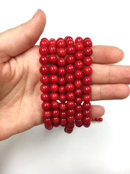 A&SB Stone - Round Stone - Bamboo Coral Red - 8mm 49 pcs