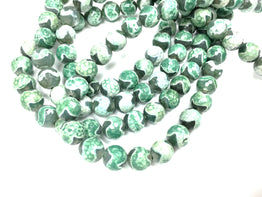 A&SB Stone - Round Stone - Cracked Agate 12mm Faceted Grey Rounds with Mint Green Waves 15.5in'/st