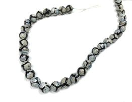 A&SB Stone - Round Stone - Cracked Agate 10mm Faceted w Blue and Black Giraffe Pattern 15.5in'/st