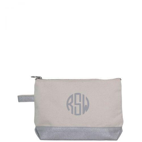 silver monogram make up bag