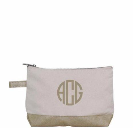 gold monogram make up bag