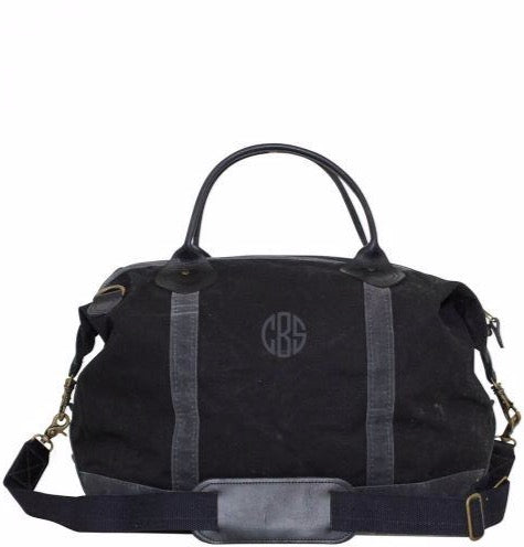 waxed canvas weekender with monogram