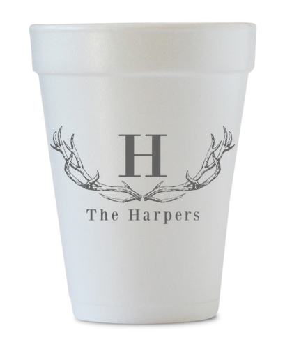 personalized foam last name antlers cups