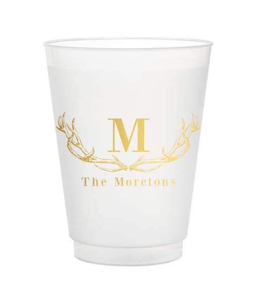 personalized last name antlers shatterproof cups