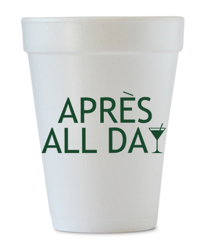 apres all day styrofoam cups
