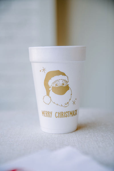 merry christmask foam cups