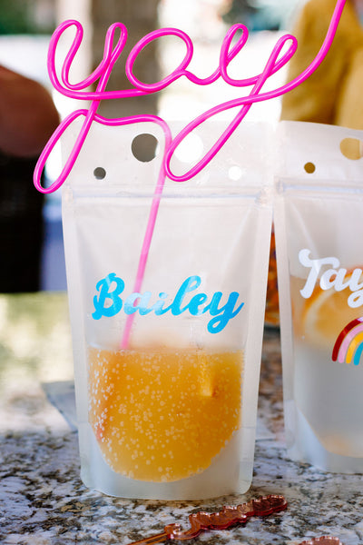 custom name party drink pouch