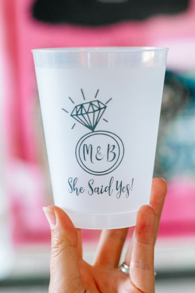 she said yes engagment cups