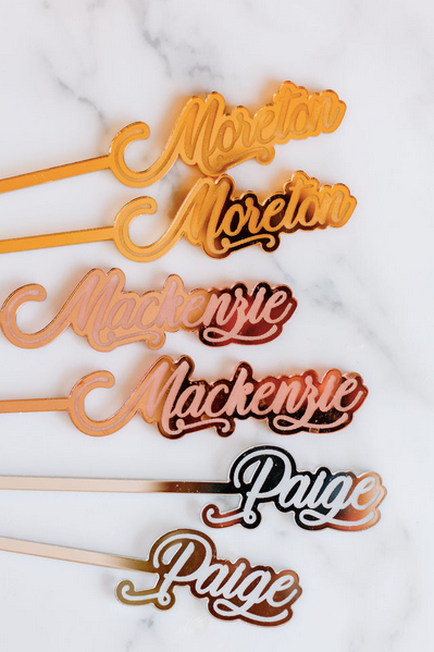 gold personalized stir sticks