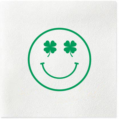 smile face shamrock st. patrick's day napkins