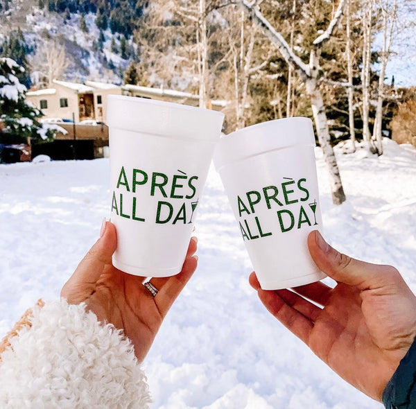 Apres All Day Styrofoam Cups - Green