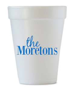 last name personalized styrofoam cups