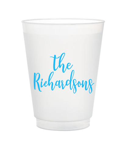 script last name personalized frost flex cups