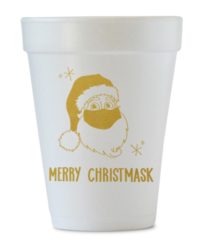 merry christmask styrofoam cups