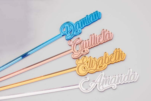 Name Mirrored Acrylic Stir Sticks