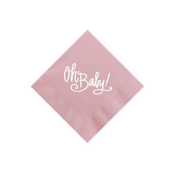 oh baby pink cocktail napkin