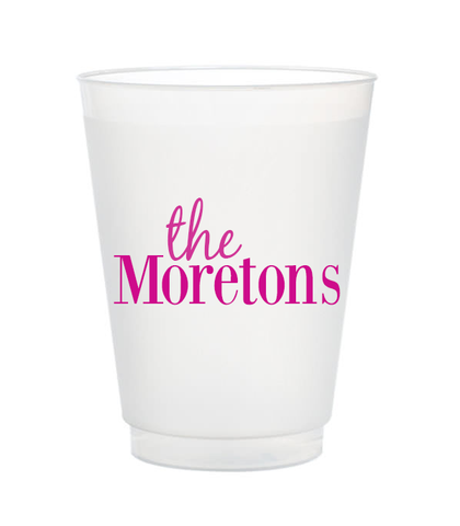last name custom plastic cups