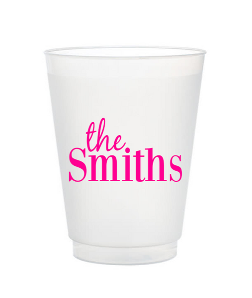 last name personalized plastic cups