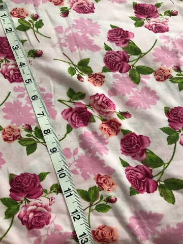 PINK ROSES FLOWER RIBBED KNIT