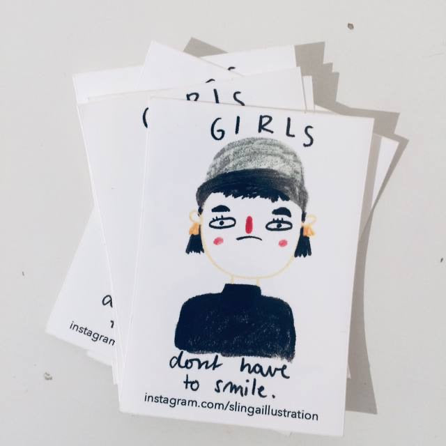 Sticker Girls Don't Need To Smile