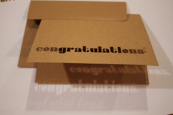 Cut Out Congratulations Laser Cut Kraft Paper Greeting Card - Duel Design Studio - 1