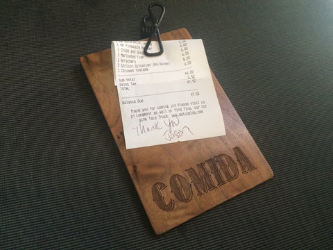 Wood Restaurant Check Presenter With Clip Engraved Brand
