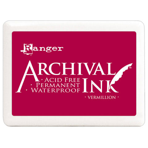 "Vermillion Red Jumbo 4""x6"" Ink Pad - Ranger Acid Free Permanent Archival Ink - Duel Design Studio - 1"