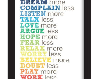 More & Less Framed Rainbow Word Art - Duel Design Studio