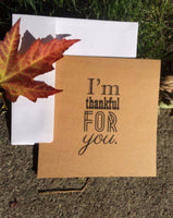 I'm Thankful For You Kraft Greeting Card - Duel Design Studio - 3