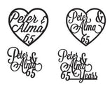 Wedding Anniversary Names in Heart Cake Topper - Duel Design Studio - 5
