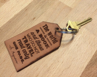 Leather St Augustine Travel Quote Typography Key Chain Duel Design