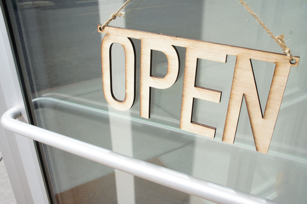 Laser Cut Wood Open Sign For Boutique Store Or Business