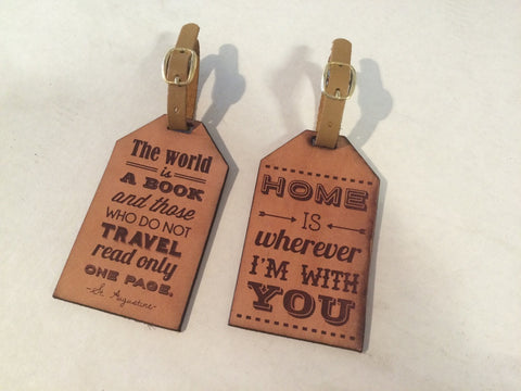 Leather Luggage Tag - Home is wherever Im with you Lyric - Duel Design Studio - 1