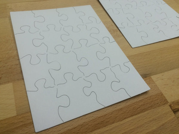 "Blank White Matte Board Puzzles - Set of Two 4.7""x6.5"" - Duel Design Studio - 1"