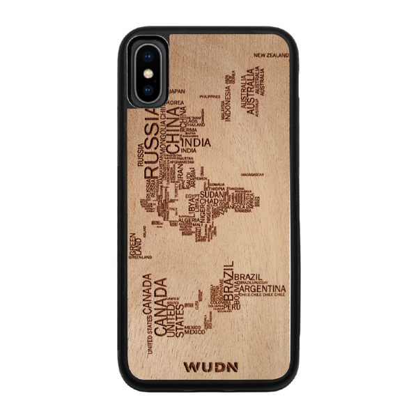 Slim Wooden Phone Case | World Map in Words Traveler
